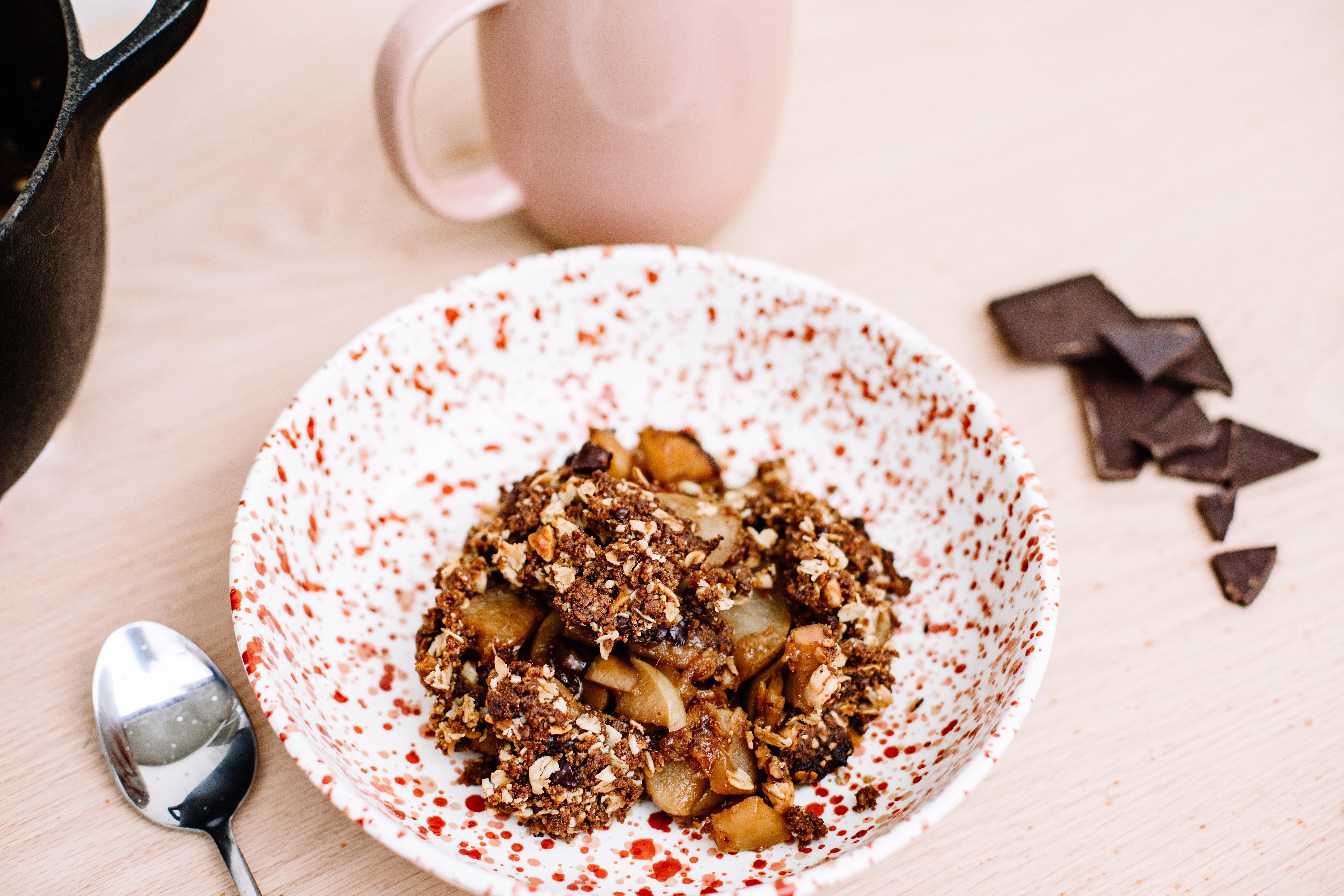 Dark Chocolate, Cinnamon and Ginger Crumble Recipe